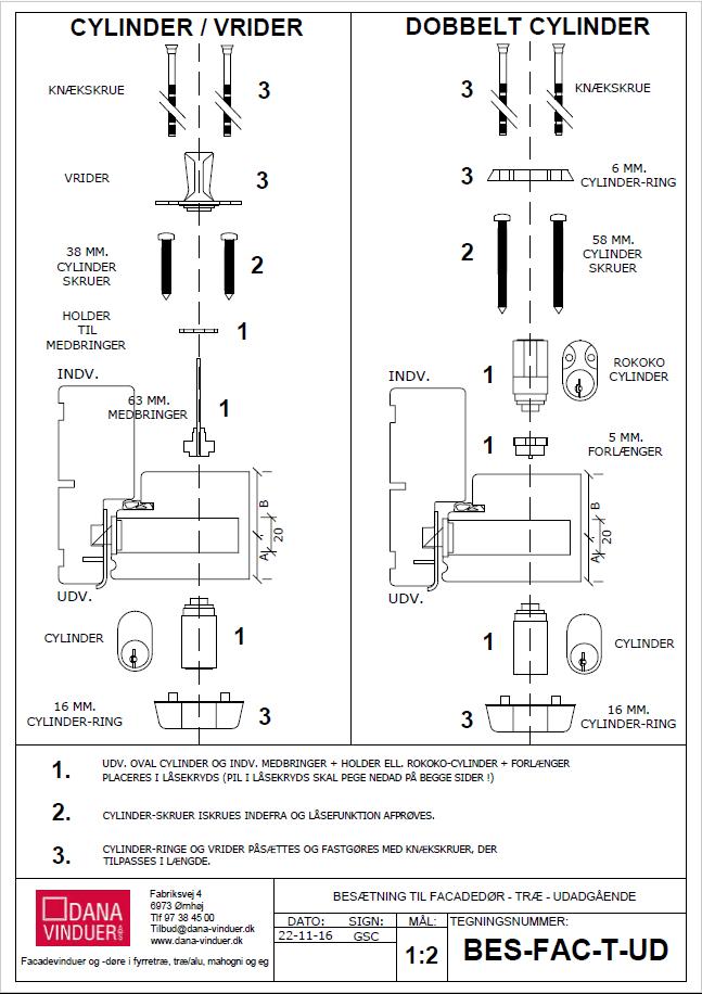 montering af cylinderlåse til facadedøre i træ
