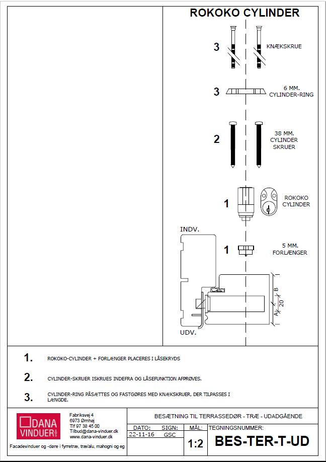 montering af cylinderlåse til terrassedøre
