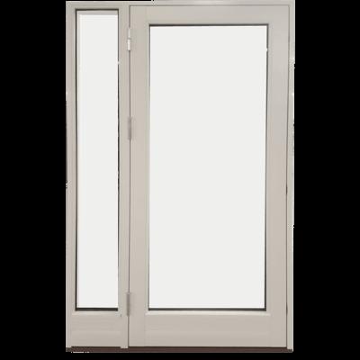 hvid dør med sidestykke