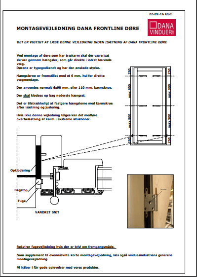 Montagevejledning dana frontline døre